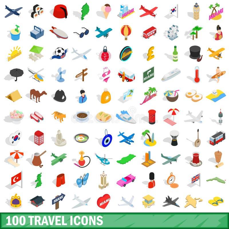 100 ícones ajustados, do curso estilo 3d isométrico ilustração stock