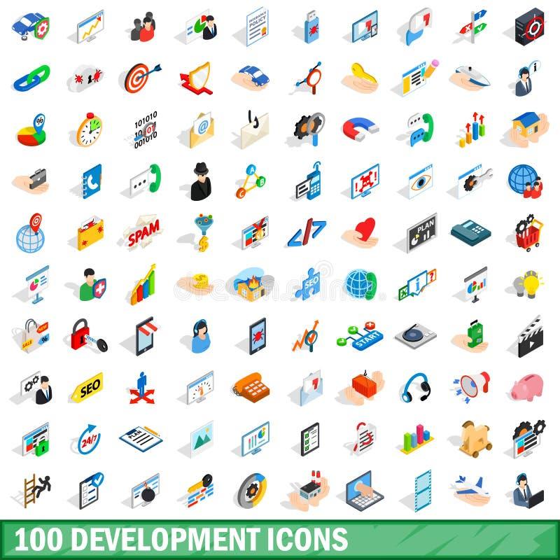 100 ícones ajustados, do desenvolvimento estilo 3d isométrico ilustração royalty free