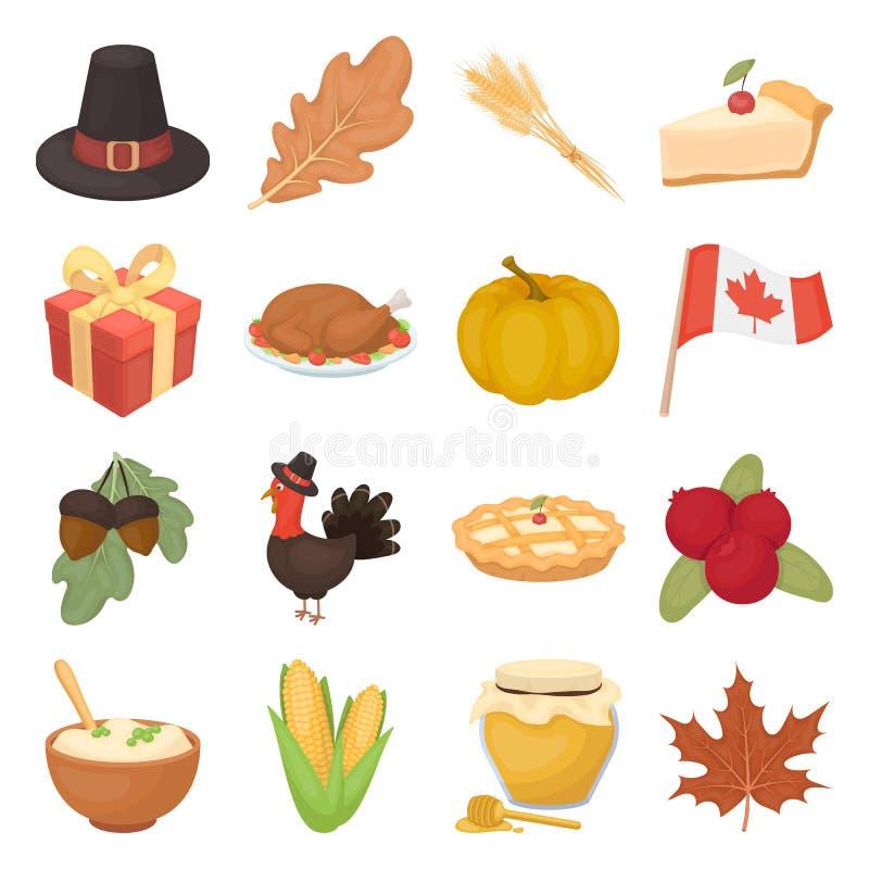 Ícones ajustados do dia canadense da ação de graças no estilo dos desenhos animados Coleção grande do símbolo canadense da ilustr ilustração stock