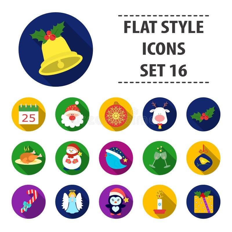 Ícones ajustados do dia de Natal no estilo dos desenhos animados Coleção grande da ilustração do estoque do símbolo do vetor do d ilustração stock