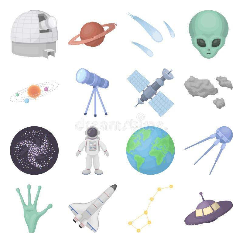 Ícones ajustados do espaço no estilo dos desenhos animados Coleção grande do símbolo da ilustração do vetor de espaço ilustração royalty free