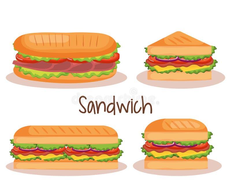 Ícones ajustados do fast food delicioso do sanduíche ilustração do vetor