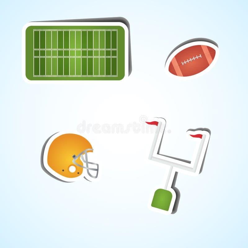 Ícones ajustados do futebol americano fotografia de stock royalty free