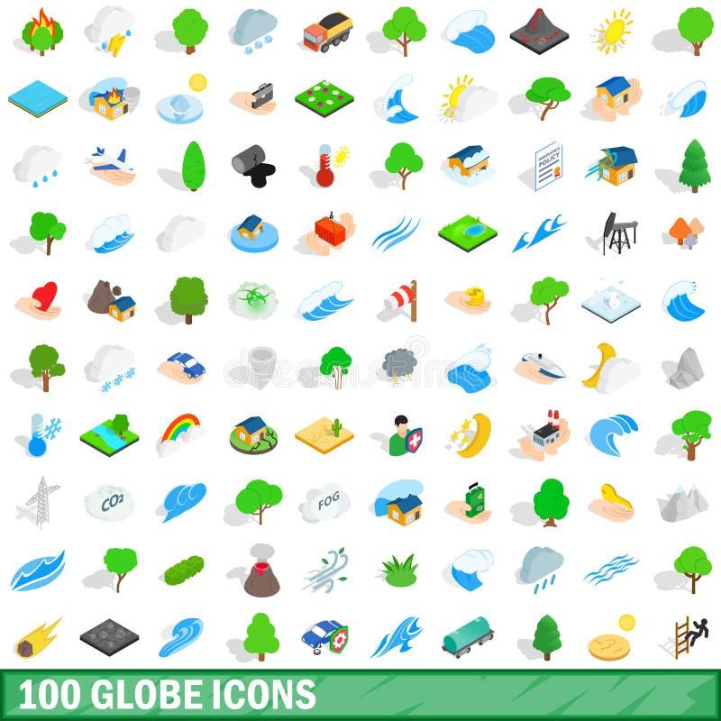 100 ícones ajustados, do globo estilo 3d isométrico ilustração do vetor