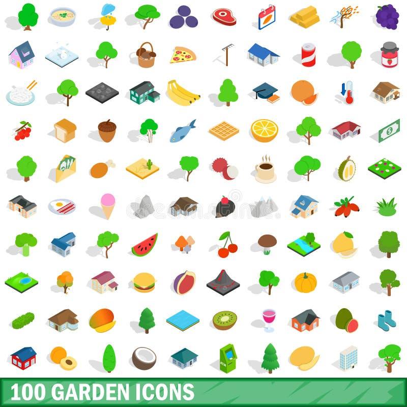 100 ícones ajustados, do jardim estilo 3d isométrico ilustração do vetor