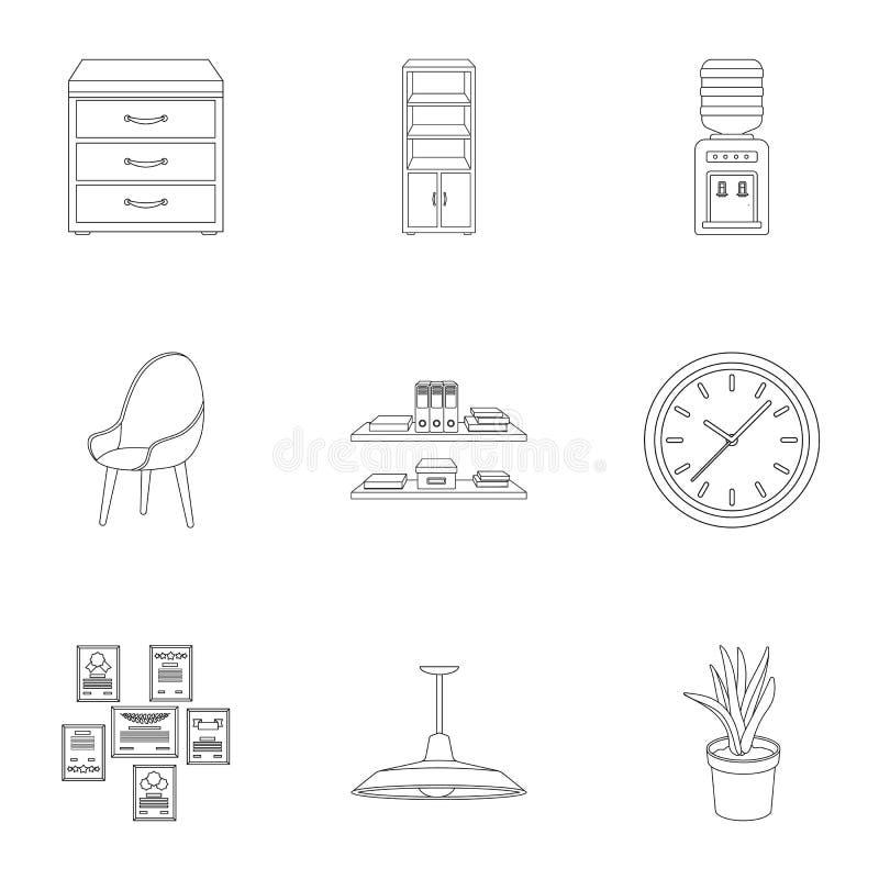 Ícones ajustados do mobiliário de escritório e do interior no estilo do esboço Coleção grande do mobiliário de escritório e do sí ilustração stock