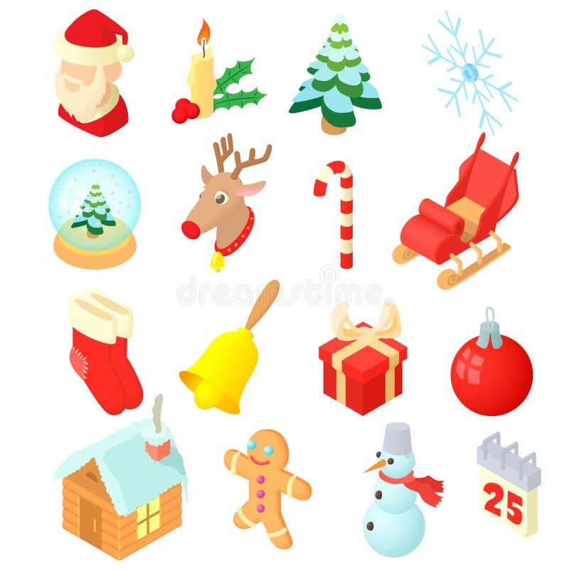 Ícones ajustados, do Natal estilo 3d isométrico ilustração stock