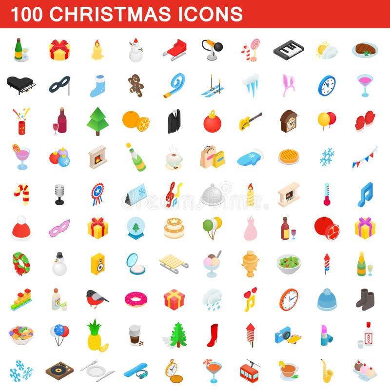 100 ícones ajustados, do Natal estilo 3d isométrico ilustração stock