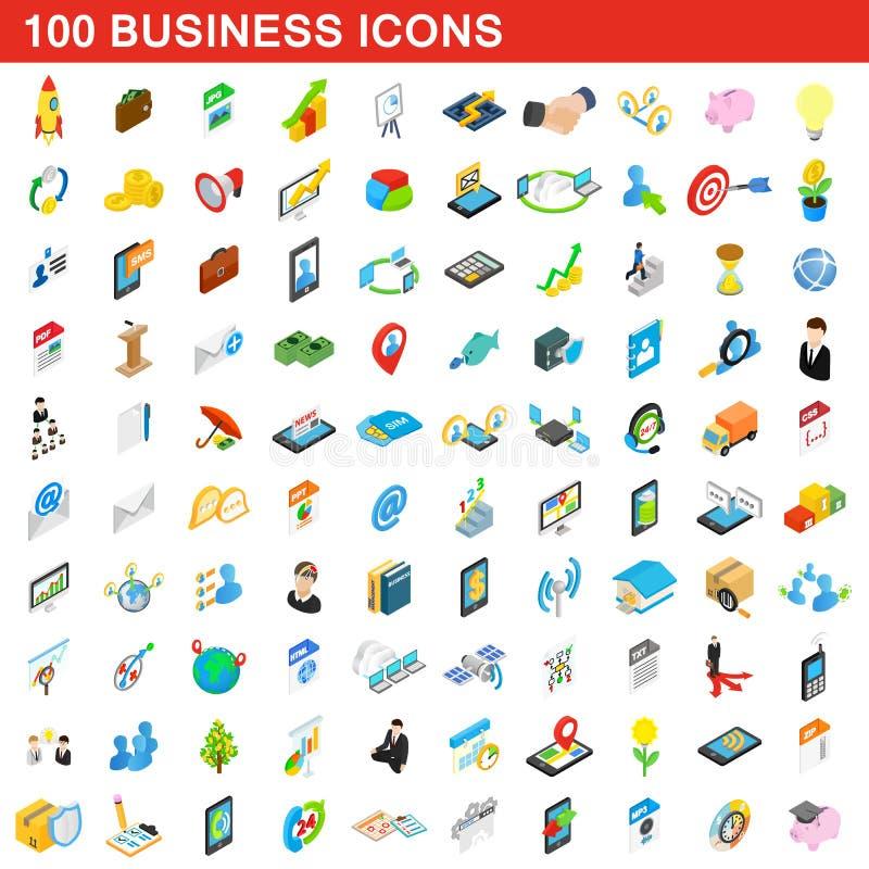 100 ícones ajustados, do negócio estilo 3d isométrico ilustração royalty free