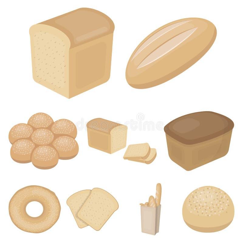 Ícones ajustados do pão no estilo dos desenhos animados Coleção grande da ilustração do estoque do símbolo do vetor do pão ilustração do vetor