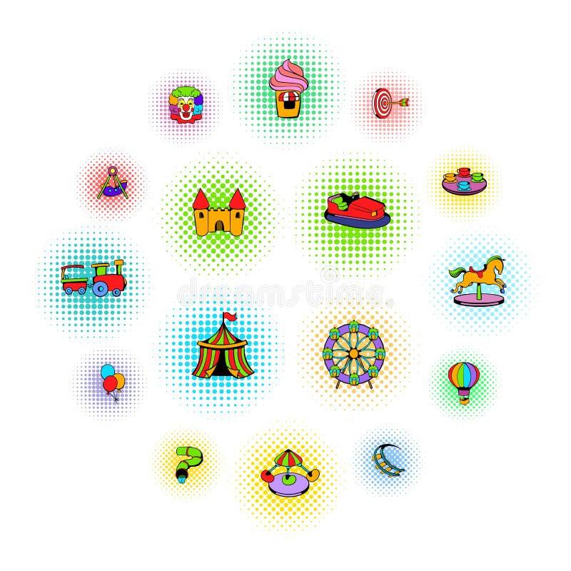 Ícones ajustados do parque de diversões, estilo da banda desenhada ilustração royalty free