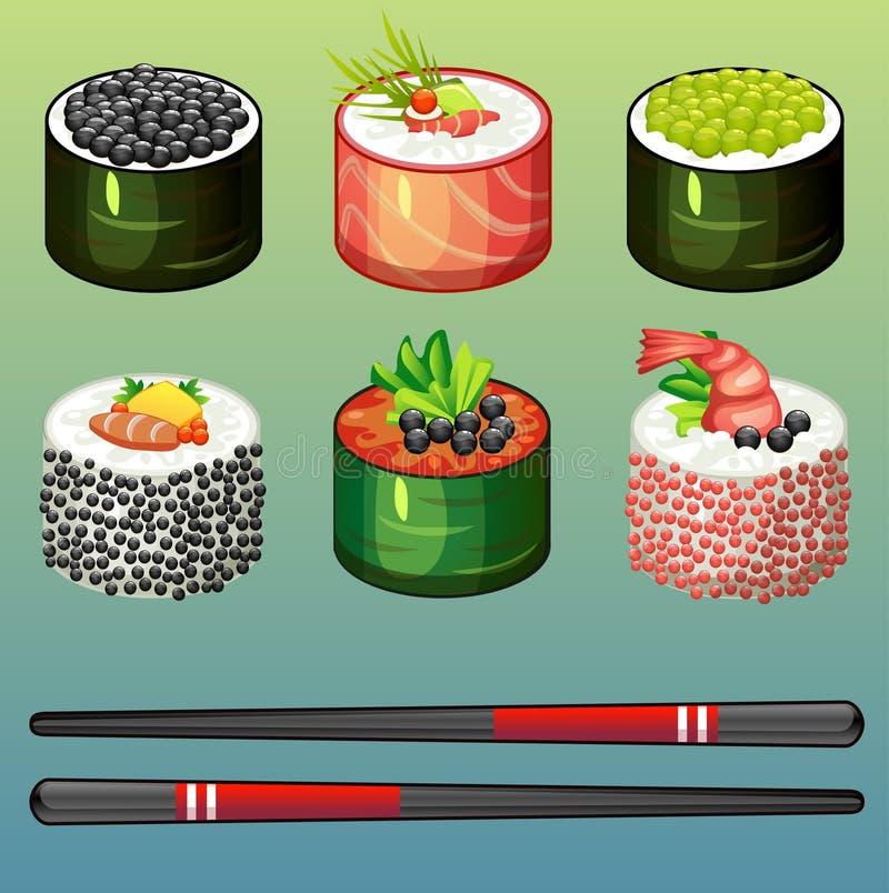 Ícones ajustados do sushi ilustração stock