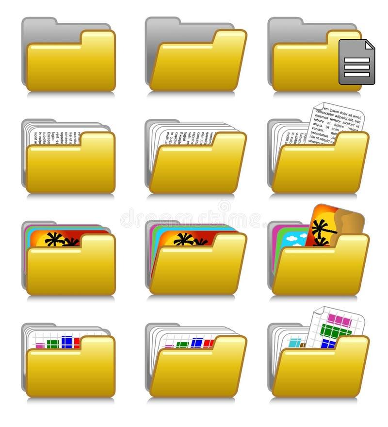 Ícones ajustados - dobradores das aplicações informáticas ilustração stock