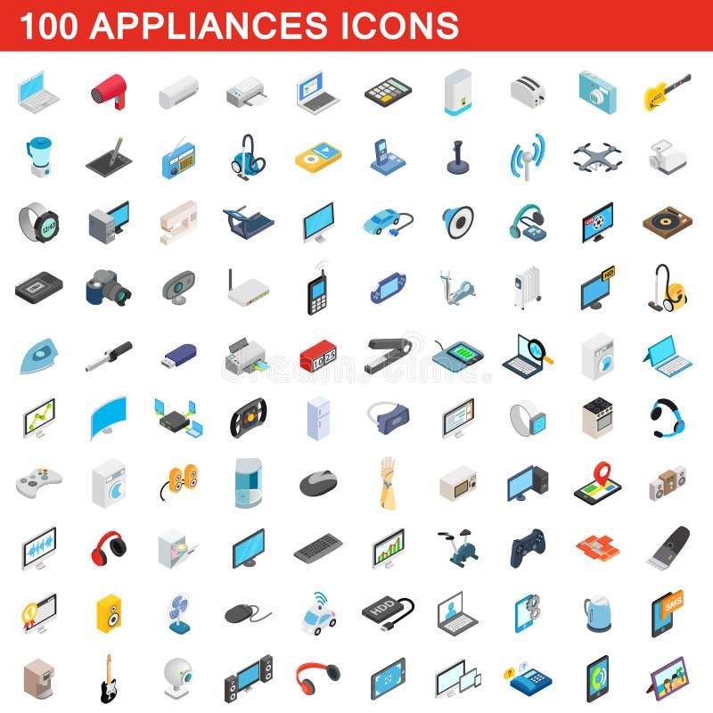 100 ícones ajustados, dos dispositivos estilo 3d isométrico ilustração royalty free