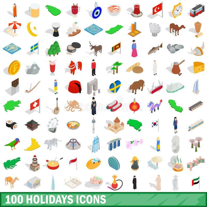 100 ícones ajustados, dos feriados estilo 3d isométrico ilustração stock