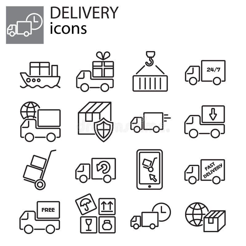 Ícones ajustados - entrega, serviços de transporte ilustração do vetor