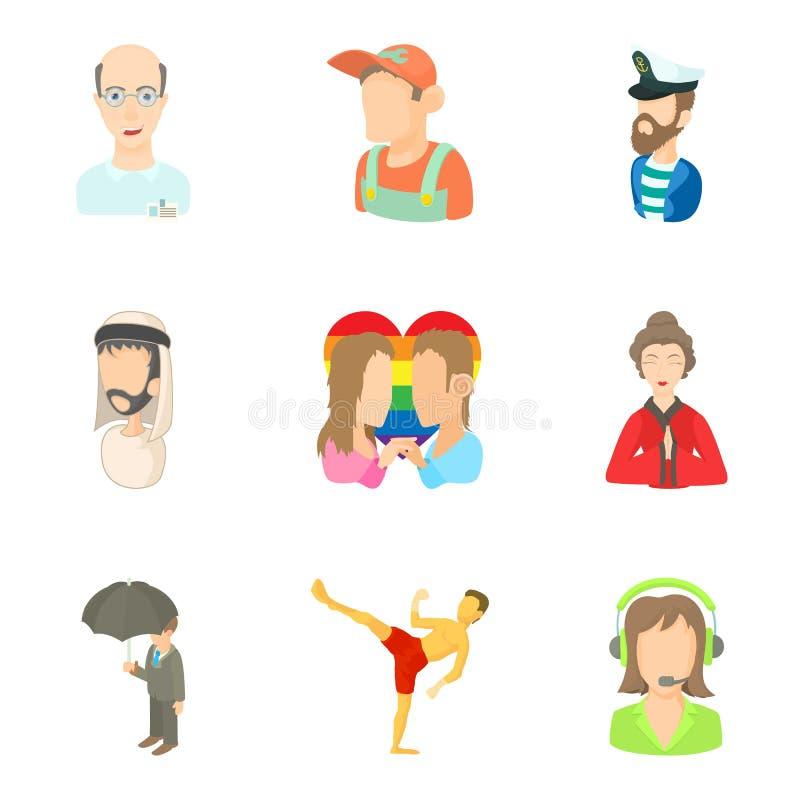 Ícones ajustados, estilo alguns povos dos desenhos animados ilustração stock