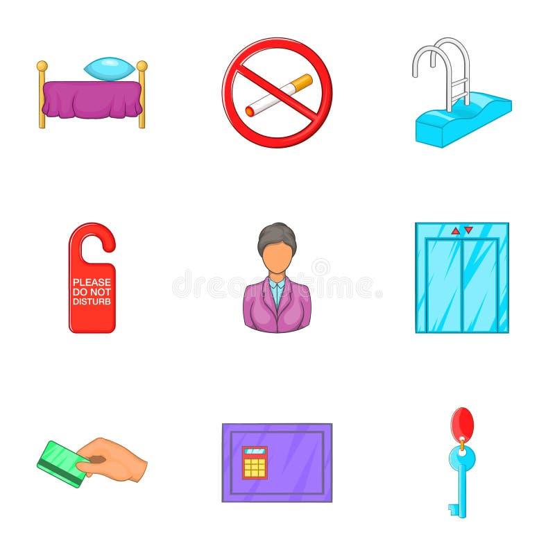 Download Ícones Ajustados, Estilo Da Acomodação De Pensão Dos Desenhos Animados Ilustração do Vetor - Ilustração de isolado, elevador: 80100952