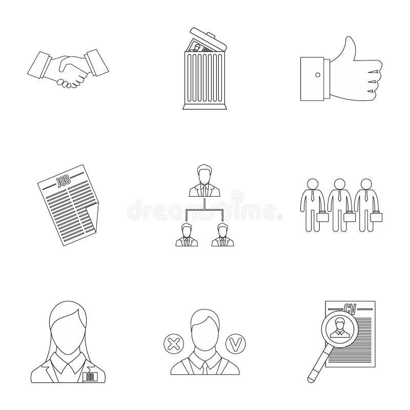 Ícones ajustados, estilo da agência provendo de pessoal do esboço ilustração stock