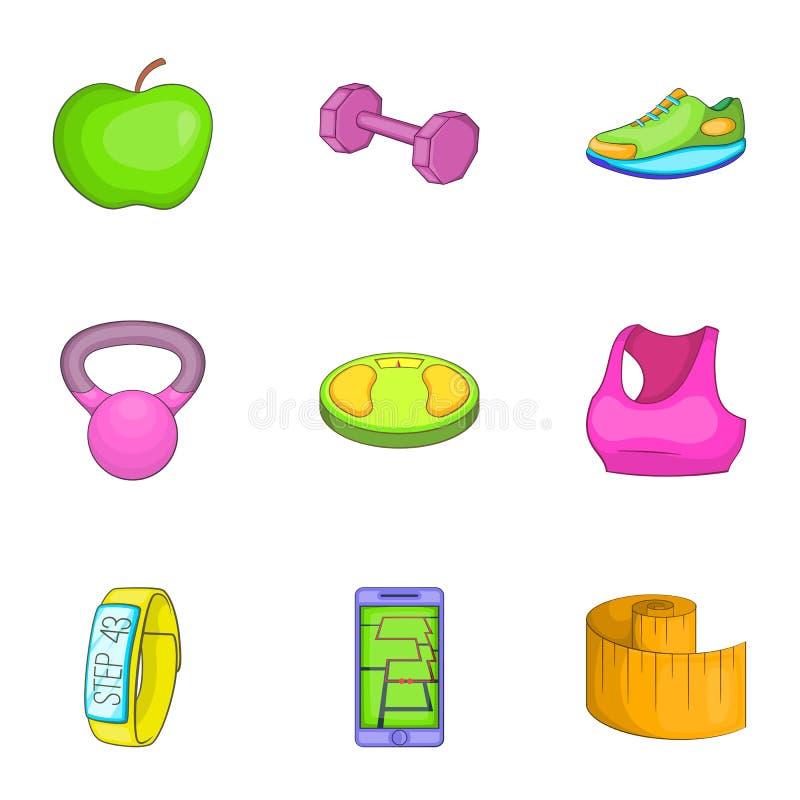 Download Ícones Ajustados, Estilo Da Aptidão Dos Desenhos Animados Ilustração do Vetor - Ilustração de movimento, saudável: 80101304
