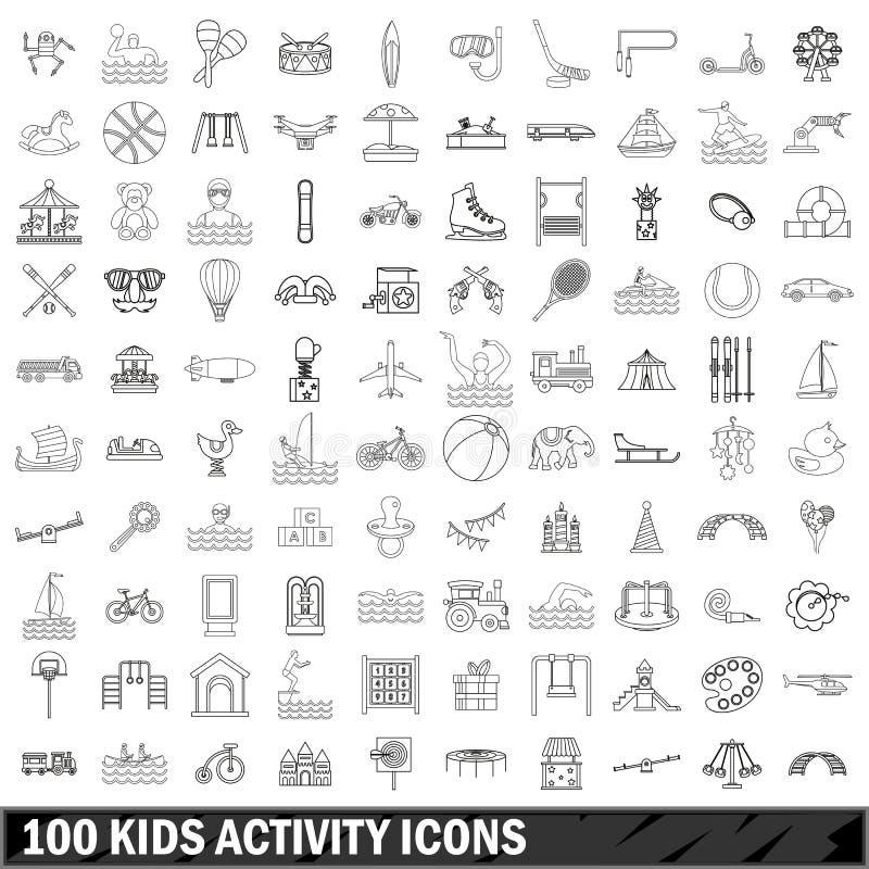 100 ícones ajustados, estilo da atividade das crianças do esboço ilustração royalty free