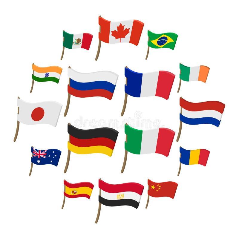 Ícones ajustados, estilo da bandeira dos desenhos animados ilustração royalty free