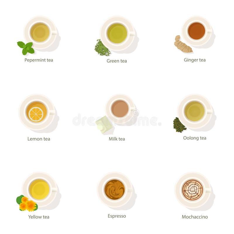 Ícones ajustados, estilo da bebida do café dos desenhos animados ilustração do vetor