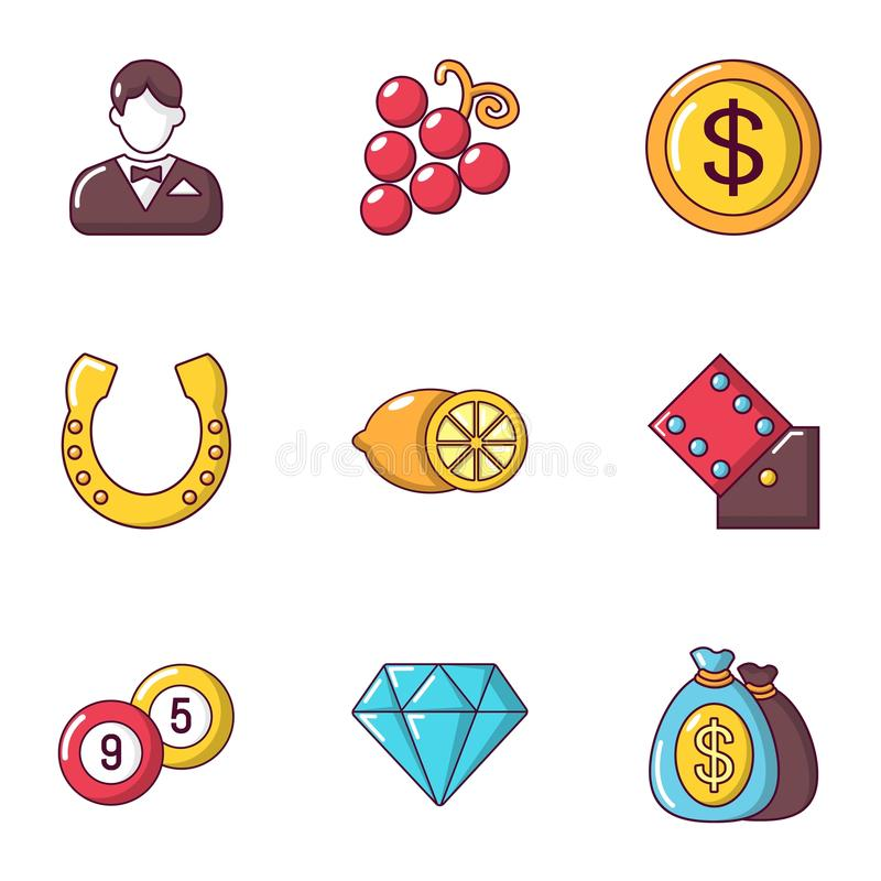 Ícones ajustados, estilo da boa fortuna dos desenhos animados ilustração stock