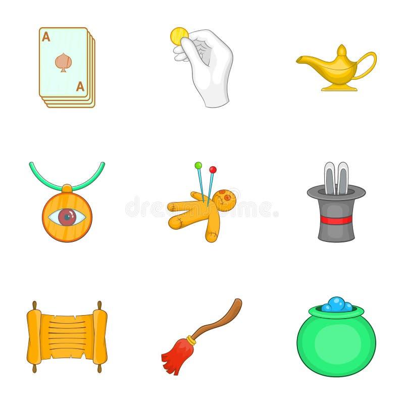 Download Ícones Ajustados, Estilo Da Bruxeria Dos Desenhos Animados Ilustração do Vetor - Ilustração de chapéu, vassoura: 80100474