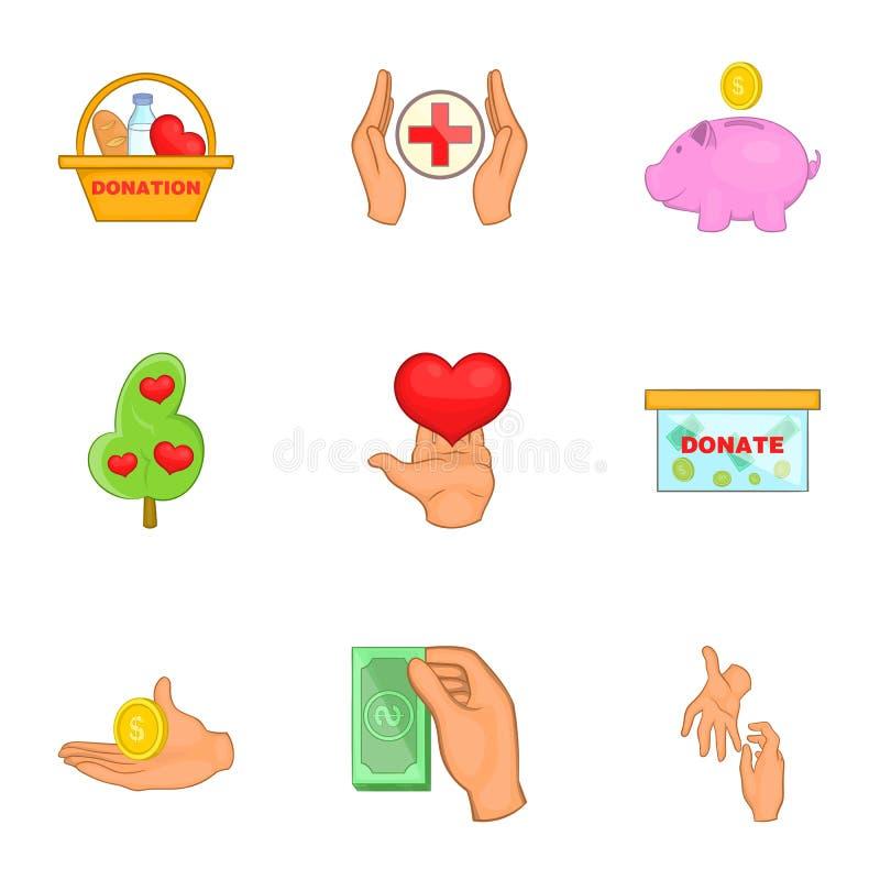 Download Ícones Ajustados, Estilo Da Caridade Dos Desenhos Animados Ilustração do Vetor - Ilustração de auxílio, elasticidade: 80100846