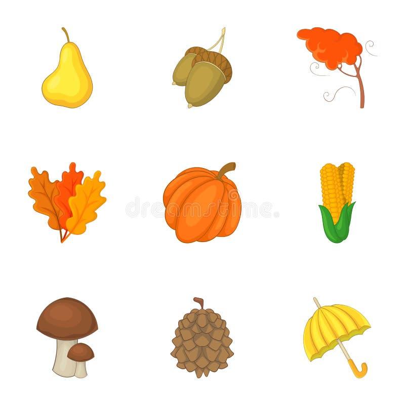 Ícones ajustados, estilo da colheita do outono dos desenhos animados ilustração stock