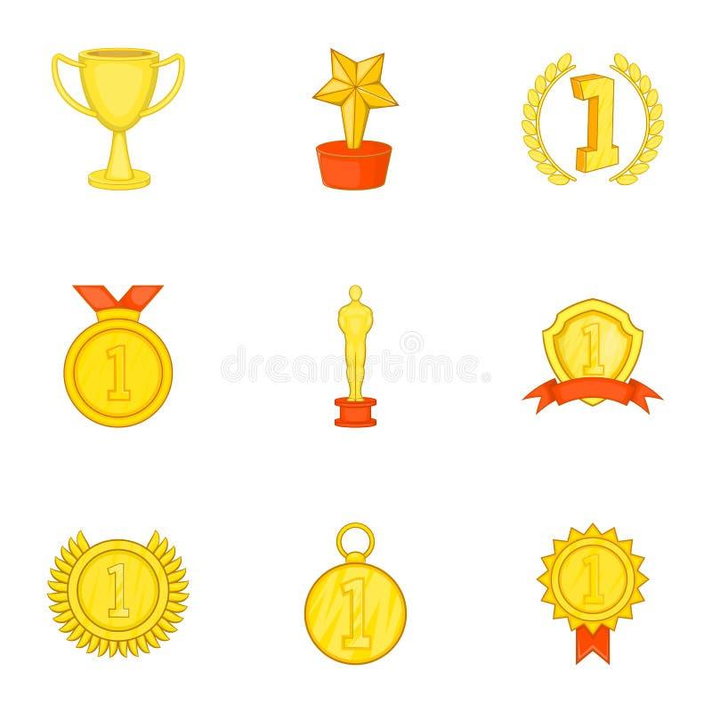 Download Ícones Ajustados, Estilo Da Competição Dos Desenhos Animados Ilustração do Vetor - Ilustração de recompensa, dourado: 80100382