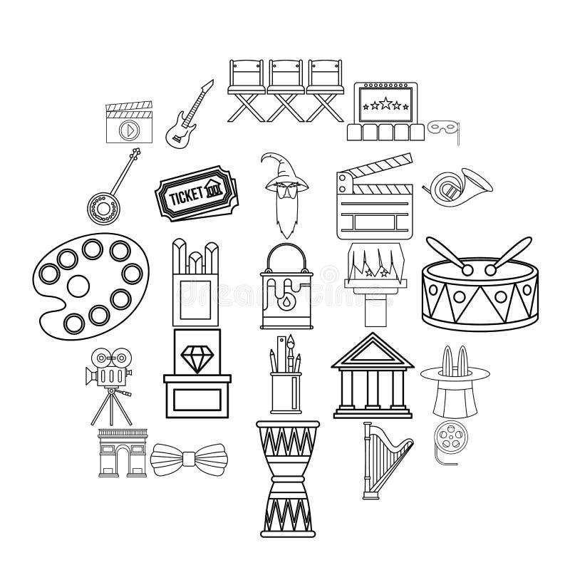 Ícones ajustados, estilo da exposição do esboço ilustração royalty free