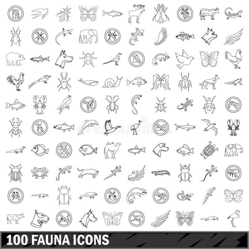100 ícones ajustados, estilo da fauna do esboço ilustração royalty free