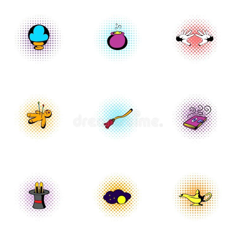Ícones ajustados, estilo da feitiçaria do pop art ilustração royalty free