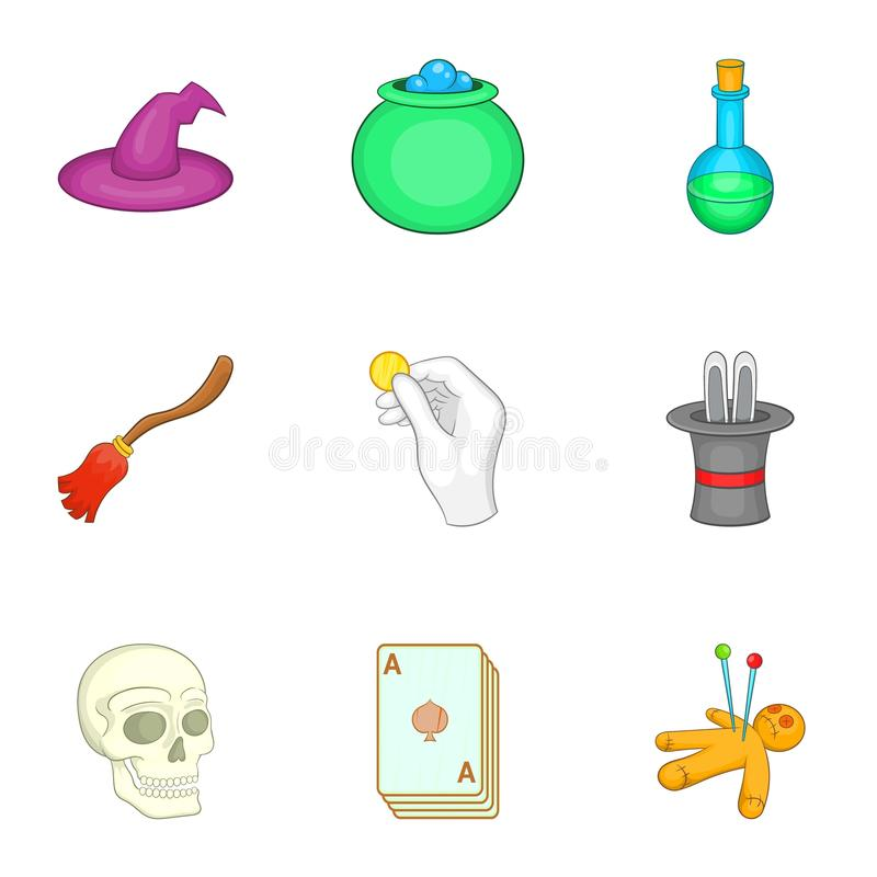 Download Ícones Ajustados, Estilo Da Feitiçaria Dos Desenhos Animados Ilustração do Vetor - Ilustração de ícone, cartões: 80100564