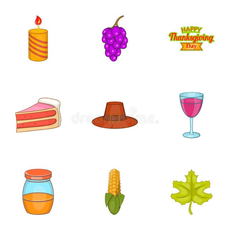 Download Ícones Ajustados, Estilo Da Festa Da Ação De Graças Dos Desenhos Animados Ilustração do Vetor - Ilustração de mensagem, festival: 80100760