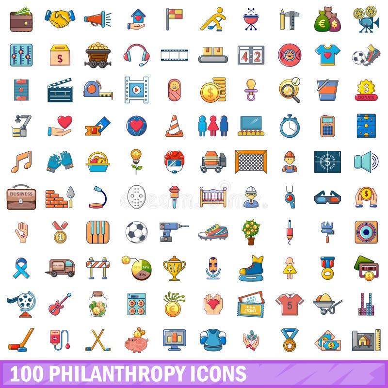100 ícones ajustados, estilo da filantropia dos desenhos animados ilustração do vetor