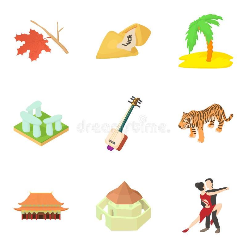 Ícones ajustados, estilo da história da praia dos desenhos animados ilustração stock