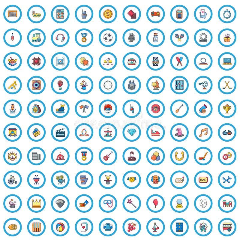 100 ícones ajustados, estilo da indústria do entertaiment dos desenhos animados ilustração stock