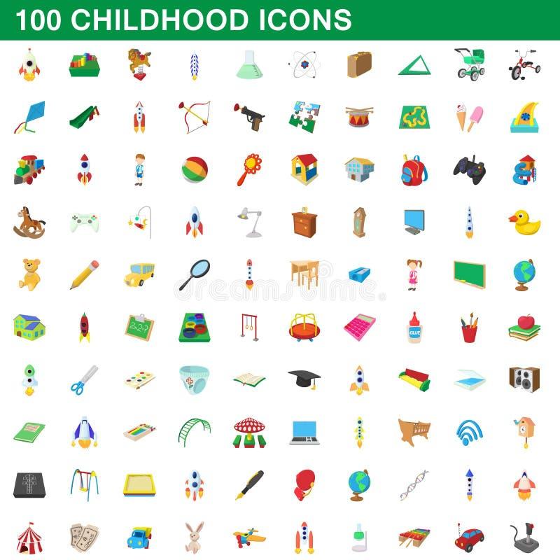 100 ícones ajustados, estilo da infância dos desenhos animados ilustração do vetor