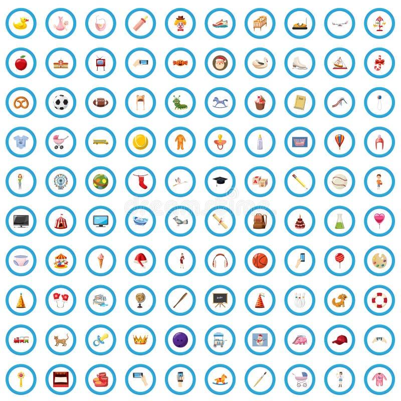 100 ícones ajustados, estilo da infância dos desenhos animados ilustração royalty free