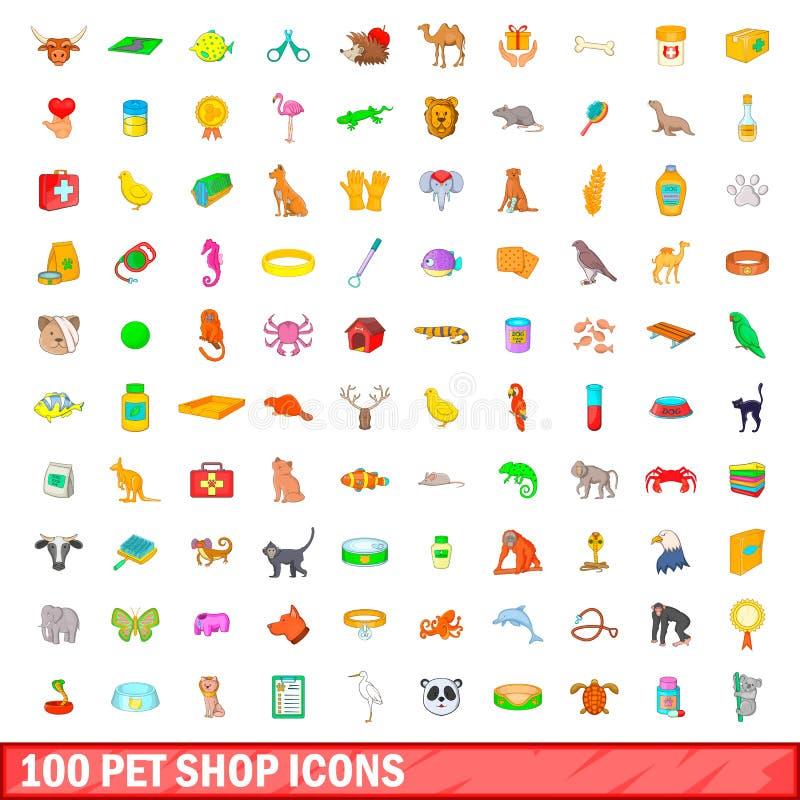100 ícones ajustados, estilo da loja de animais de estimação dos desenhos animados ilustração do vetor