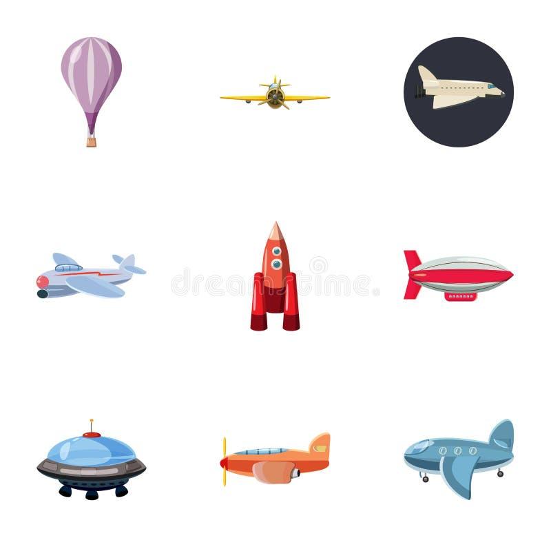 Ícones ajustados, estilo da máquina de voo dos desenhos animados ilustração do vetor