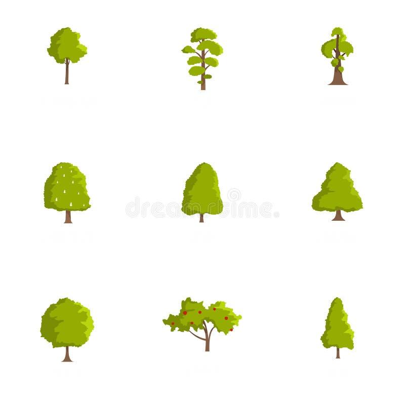 Ícones ajustados, estilo da madeira dos desenhos animados ilustração do vetor