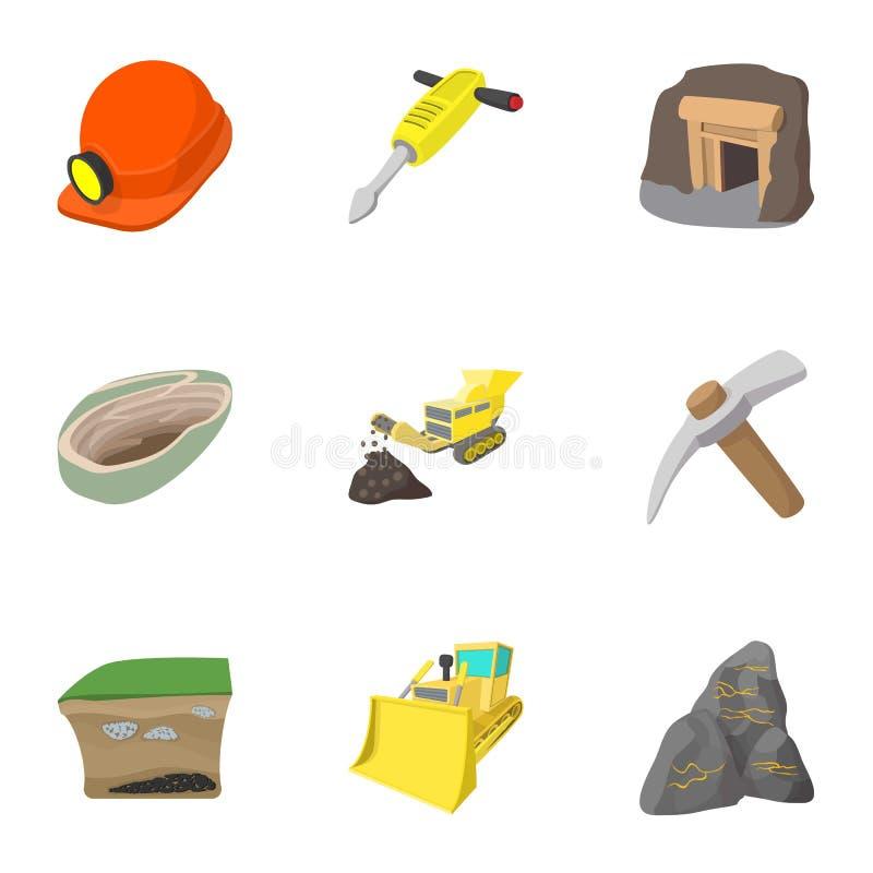 Ícones ajustados, estilo da mina de carvão dos desenhos animados ilustração stock