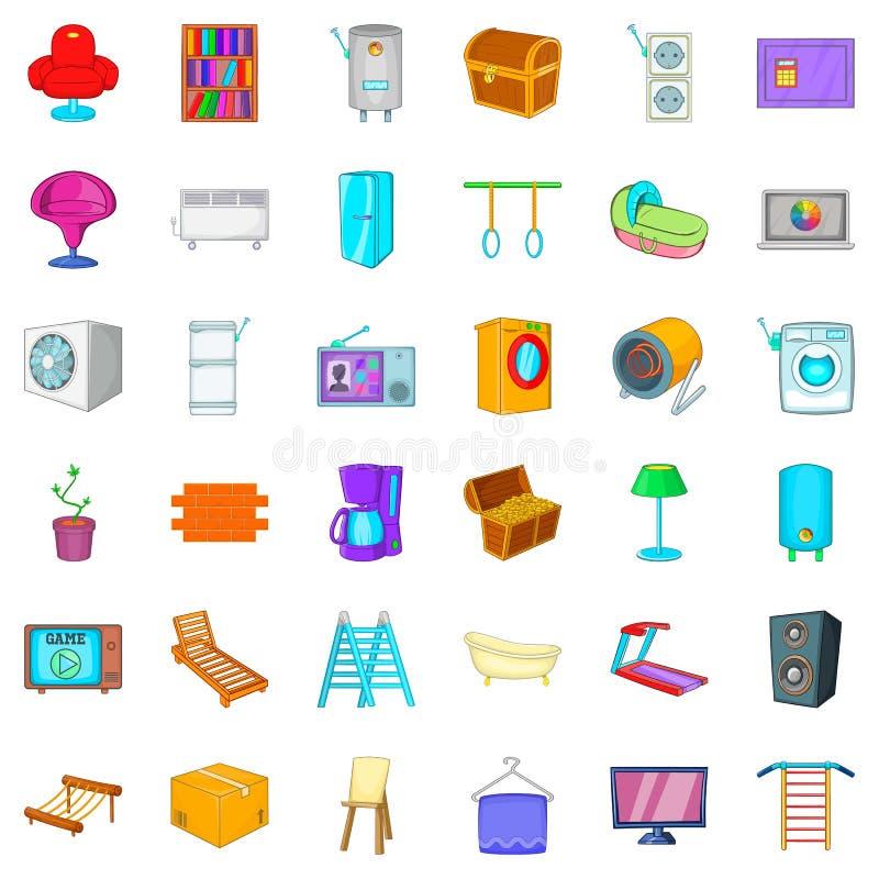 Ícones ajustados, estilo da mobília dos desenhos animados ilustração stock