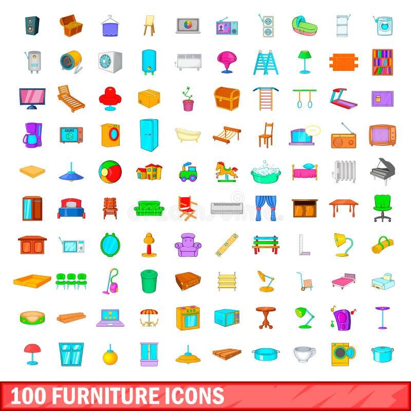 100 ícones ajustados, estilo da mobília dos desenhos animados ilustração do vetor