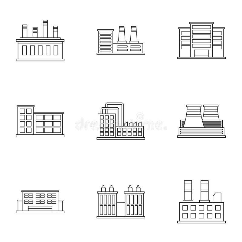 Ícones ajustados, estilo da planta de produção do esboço ilustração do vetor