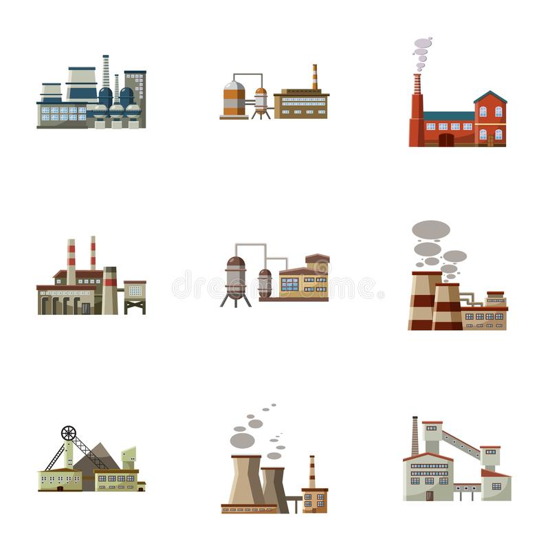 Ícones ajustados, estilo da planta de produção dos desenhos animados ilustração royalty free